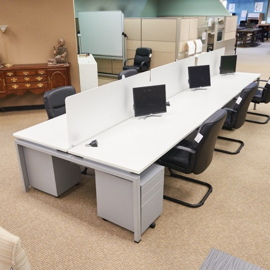 Used Clear Design 6-Pod Benching Station with Power & Dividers & File Peds (White) BEN1670-018