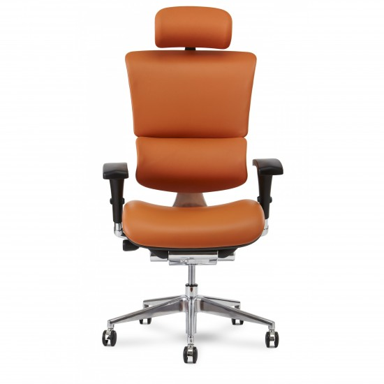 X-Chair X4 Leather Executive Chair with Headrest (Cognac)
