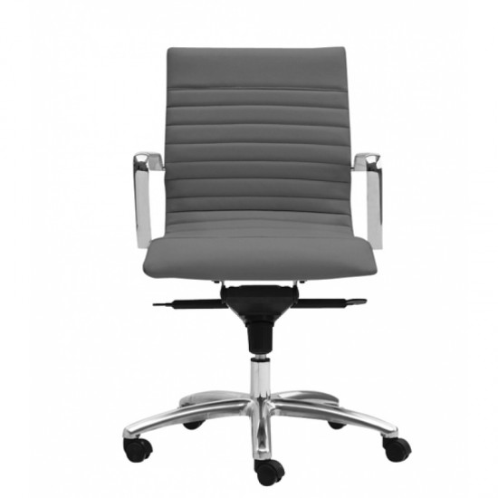 Zetti Leather Mid Back Executive Chair (Gray)