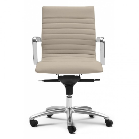 Zetti Leather Mid Back Executive Chair (Sand)