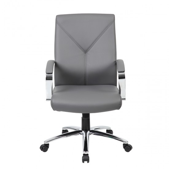 Boss Leather Plus High Back Executive Chair (Gray)