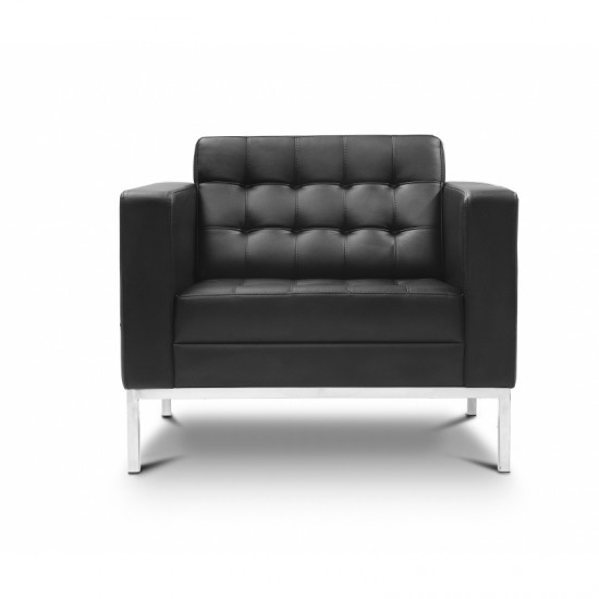 Piazza Leather Office Lounge Chair (Black)