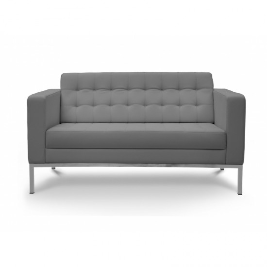 Piazza Leather Office Love Seat (Gray)