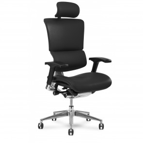 X-Chair X4 Leather Executive Chair with Headrest (Black)