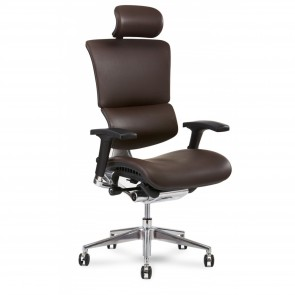 X-Chair X4 Leather Executive Chair with Headrest (Brown)