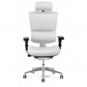 X-Chair X4 Leather Executive Chair with Headrest (White)