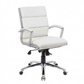 Boss CaressoftPlus™ Mid-Back Executive Chair (White)