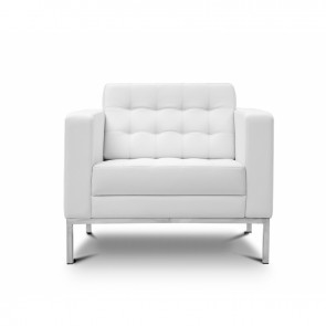 Piazza Leather Office Lounge Chair (White)