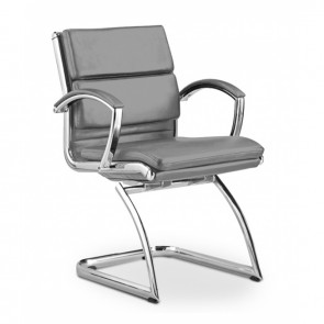 Livello Leather Office Guest Chair (Gray)