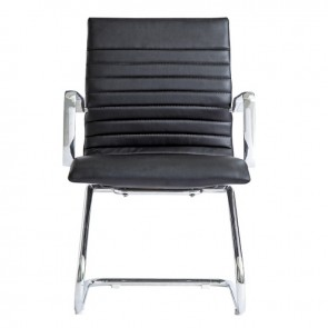Zetti Leather Office Guest Chair (Black)