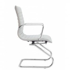 Zetti Leather Office Guest Chair (White)