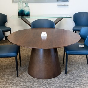 "Used JSI Moto 4 48"" Round Table with Power (Showroom Sample - Walnut) CTB9999-012"