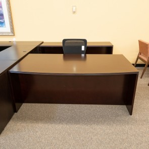 Used OFD Kent Bow Front Desk & Credenza Set (Mahogany) DEE0001DMGD