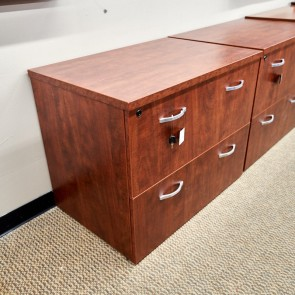 Used 2 Drawer Lateral Desk File Cabinet (Cherry) FIL1693-044