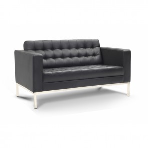 Piazza Leather Office Love Seat (Black)