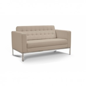 Piazza Leather Office Love Seat (Sand)