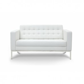 Piazza Leather Office Love Seat (White)